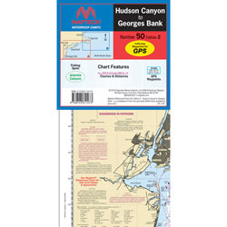 Maptech Folding Waterproof Chart - Hudson Canyon to Georges Bank