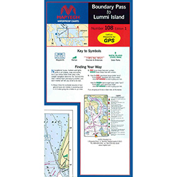 Maptech Folding Waterproof Chart - Boundary Pass to Lummi Island