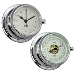 Weems & Plath Endurance II 115 Chrome Quartz Clock and Barometer Bundle