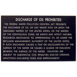 Bernard Marine Regulation Placard - Discharge Of Oil from Vessel