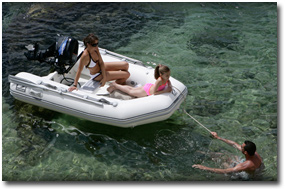 family on inflatable boat