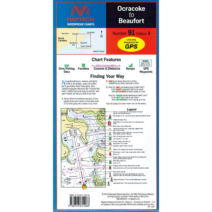Maptech Folding Waterproof Chart - Ocracoke to Beaufort