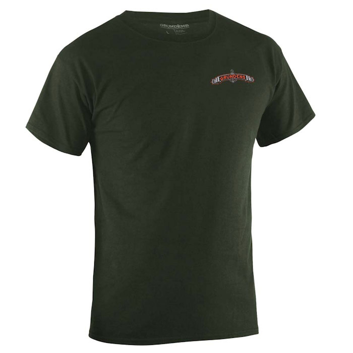 Grundens Men's Classic Salmon Short Sleeve T-Shirt - Army Green Large