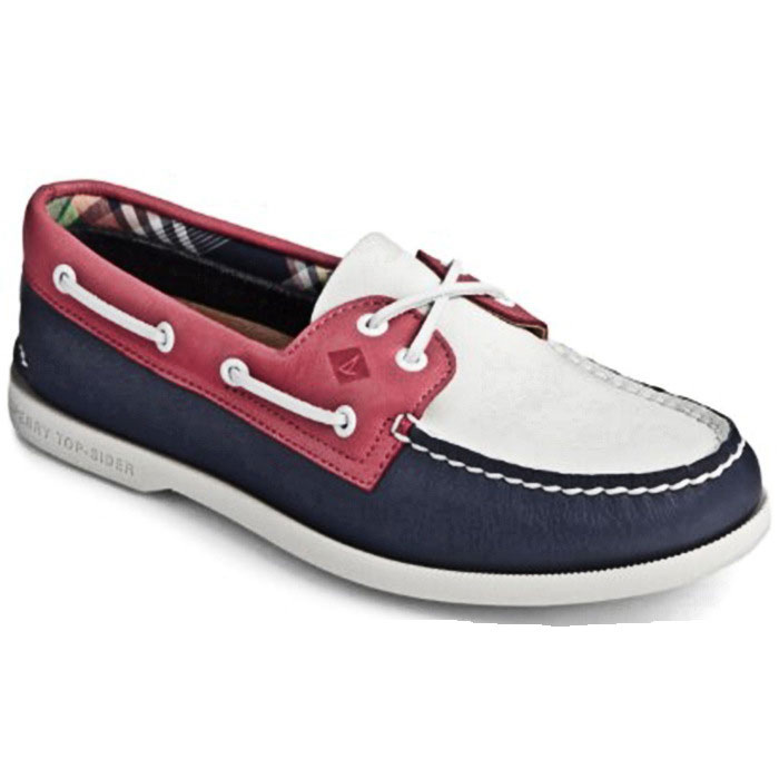 Sperry Women's Authentic Original Plushwave - Navy / White / Red; Size 10 M