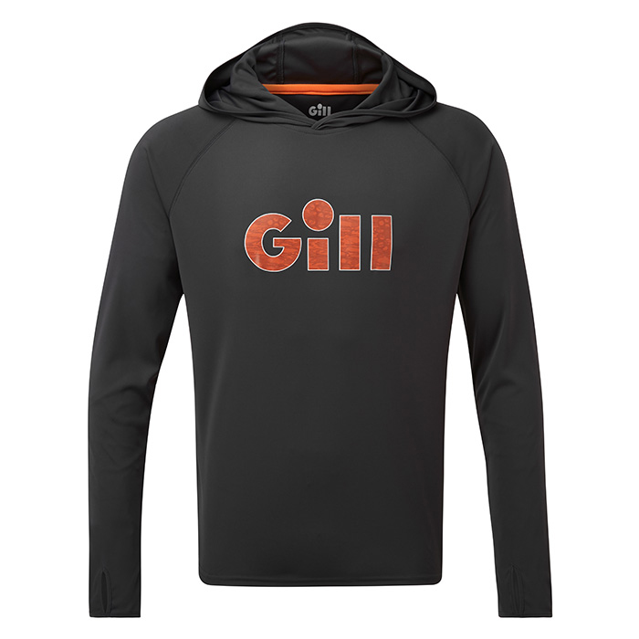 Gill Men's UV Tec Hoodie with Gill Logo - Charcoal, 3X-Large