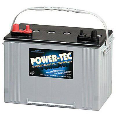 Power-Tec Deep Cycle Marine Battery - 12V AGM - Group 27