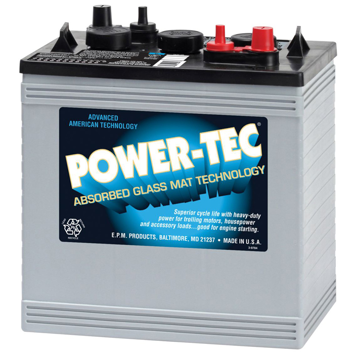 Power-Tec Deep Cycle Marine Battery - 12V AGM - Group GC2
