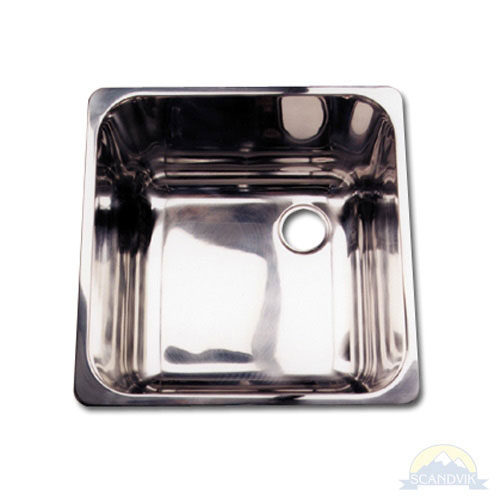 Scandvik Mirror Finish Stainless Steel Square Sink - 14-1/4
