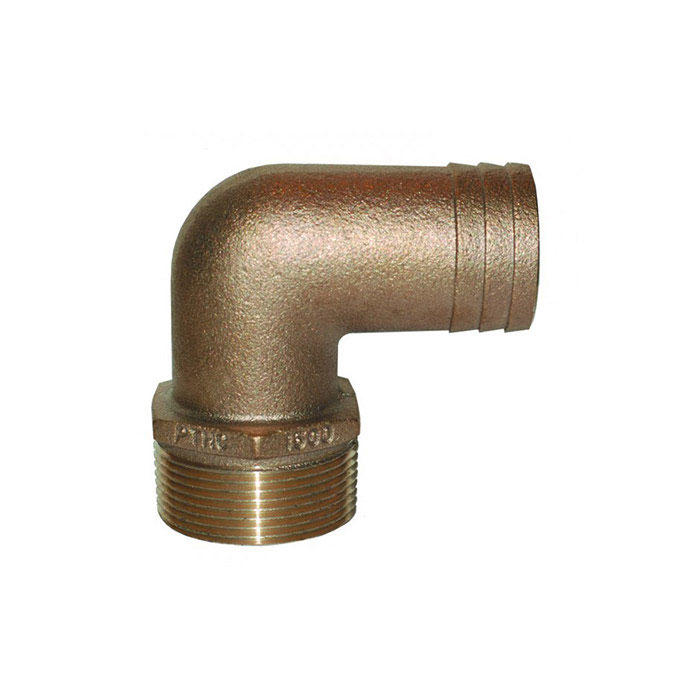 Groco PTH-C Standard Flow 90 Degree Pipe to Hose Adapter - 1/2 Inch NPT