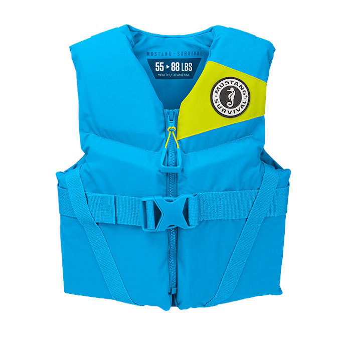Mustang Rev Youth Vest / Life Jacket / PFD - Azure Blue