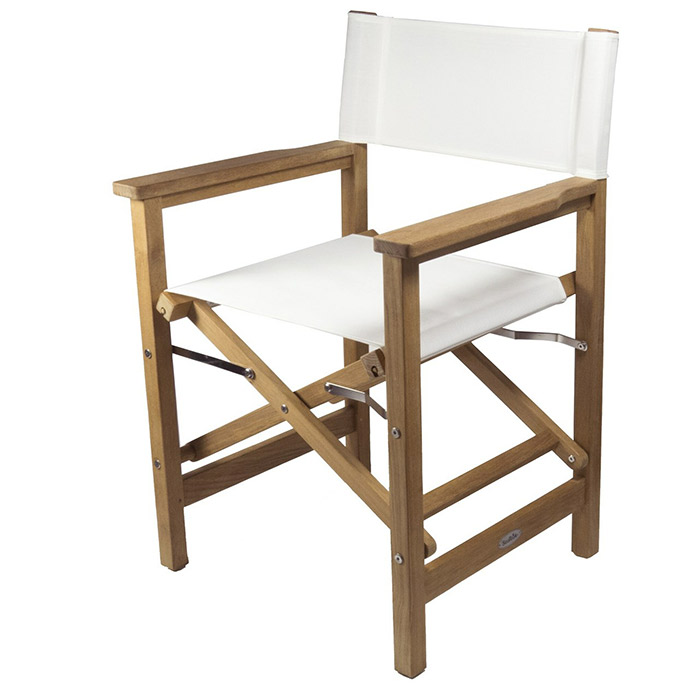 SeaTeak Folding Directors Chair with Fabric Seat and Back – Directors Folding Chair