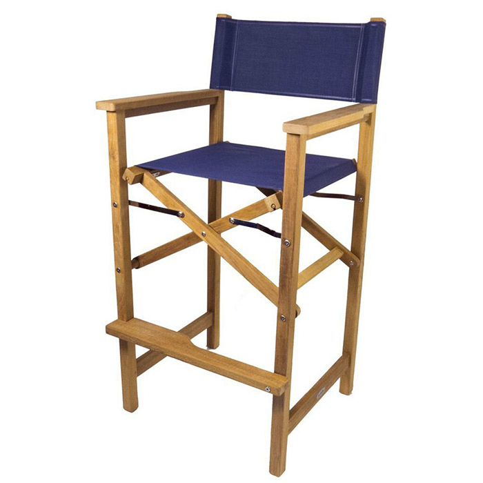 SeaTeak Folding Captainu0027s Chair With Fabric Seat And Back