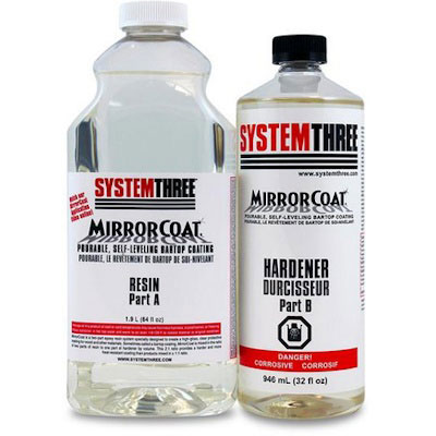 System Three Mirror Coat Bar and Tabletop Coating Resin / Hardener Kit