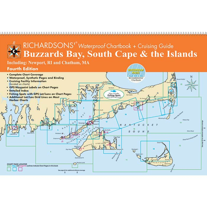 Maptech BB4 Waterproof Chartbook & Cruising Guide - Buzzards Bay, S. Cape MA