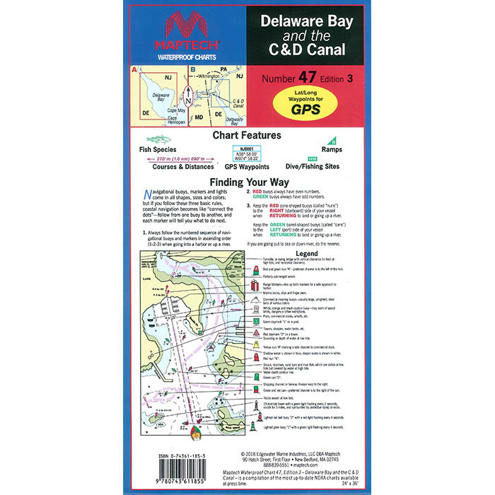 Maptech Folding Waterproof Chart - Delaware Bay and C&D Canal