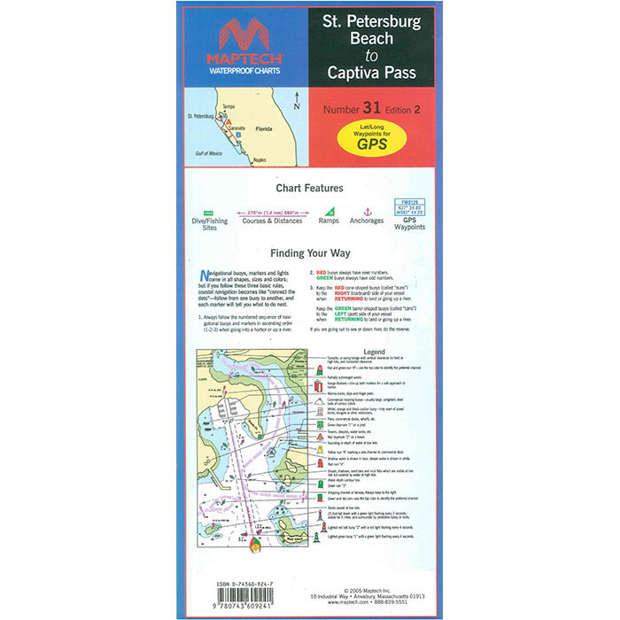 Maptech Folding Waterproof Chart -St Petersburg Beach-Captiva Pass (WPC031-03)