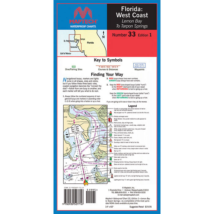 Maptech Folding Waterproof Chart - Lemon Bay to Tarpon Springs