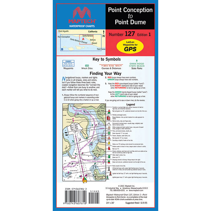 Maptech Folding Waterproof Chart - Point Arguello to San Diego (WPC127)